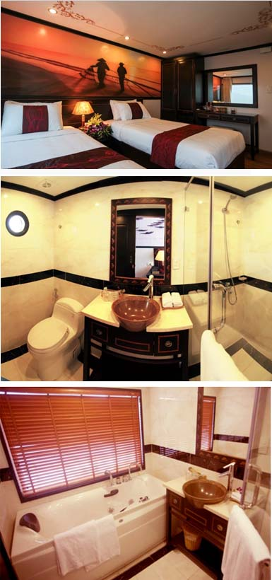 Huong Hai Sealife Cruise possesses spacious cabins
