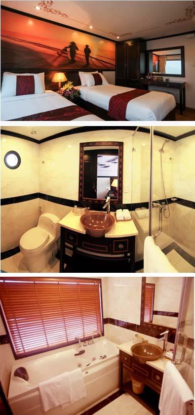 Huong Hai Sealife Cruise possesses spacious cabins