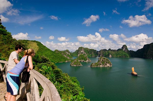 A part of Ha Long viewed from the top of the mountain in Titop island