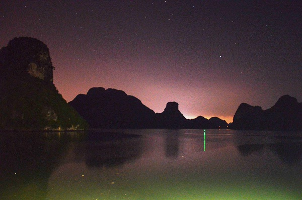 Peaceful Halong Bay at night
