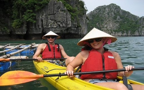 Kayaking – one of the most fun activities included in a Halong Bay tour package