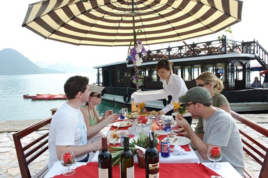Outside meal in Halong Bay