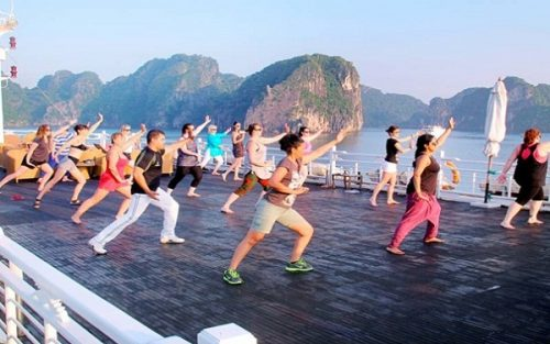 Early morning Tai Chi class on sundeck in Halong Bay