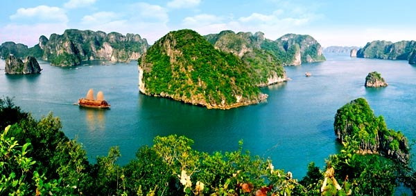 Halong Bay consists of numerous islands and islets