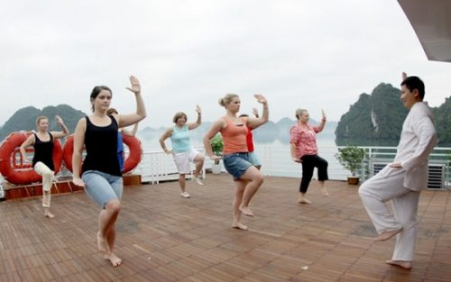 Tai Chi program in the morning on the boat