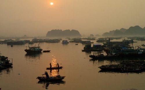 Early morning floating market on Halong Bay
