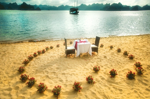 Romantic dinner on Halong Bay beach