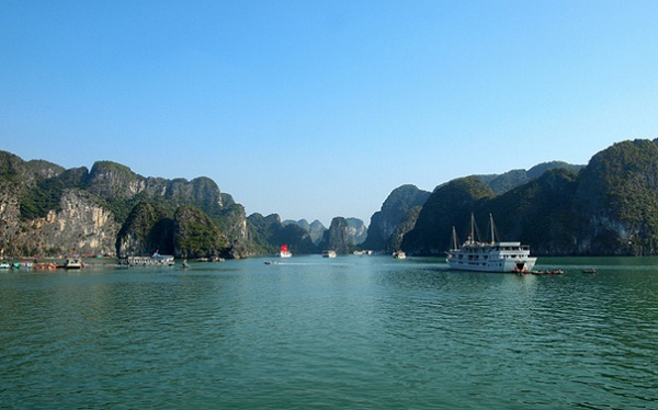 The natural beauty of Halong Bay in a hot summer day