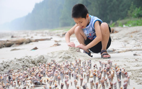 A kid is building his own sandy castle on Ngoc Vung Beach