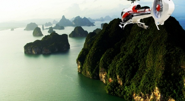 Seeing Halong Bay on helicopter