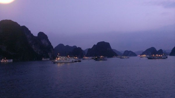 Sunset in Halong Bay – it's time to prepare for squid fishing