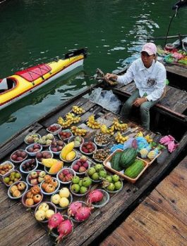 Floating market in Halong Bay