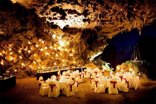 Dining in Halong Bay's Cave