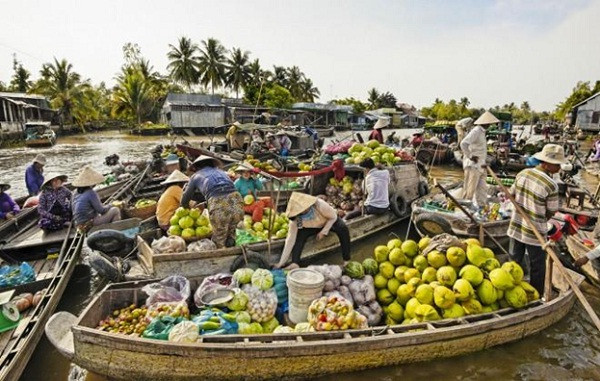 Many kinds of tropical fruit being sold in a floating market on Mekong River