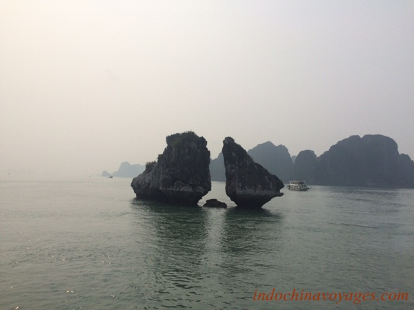 Hon Trong Mai in the morning, the symbol of Halong Bay