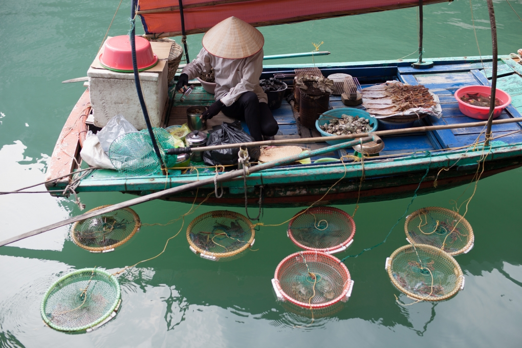 Selling seafood on the boat in Halong bay