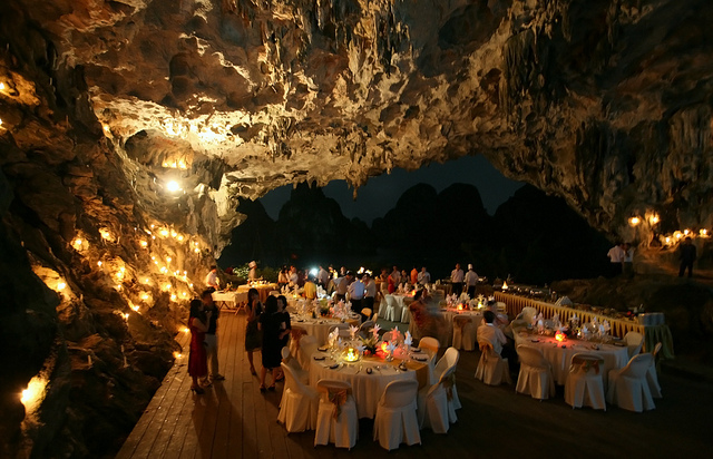 Dining in cave in Halong Bay
