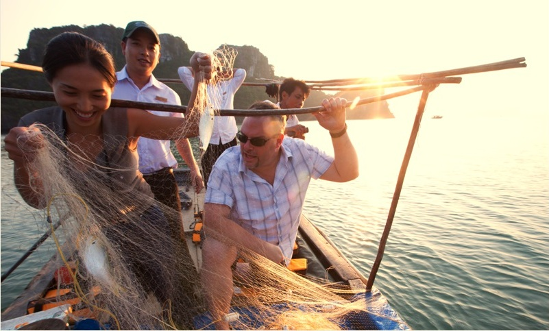 Squid fishing on Halong Bay