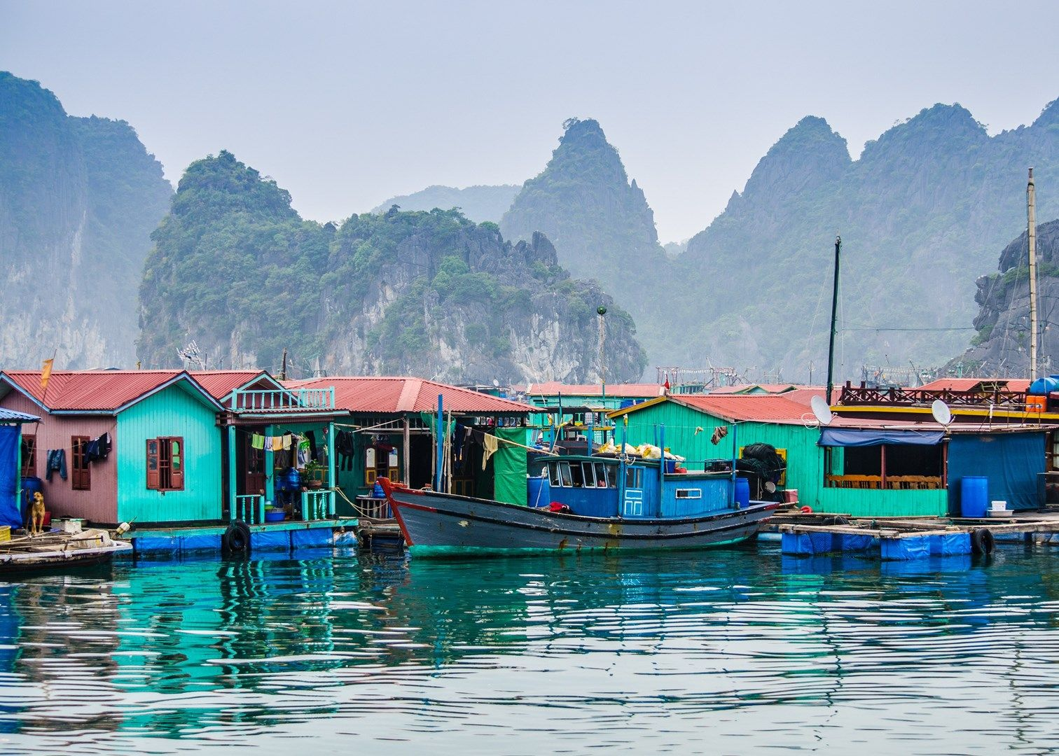 Floating villages in Halong bay