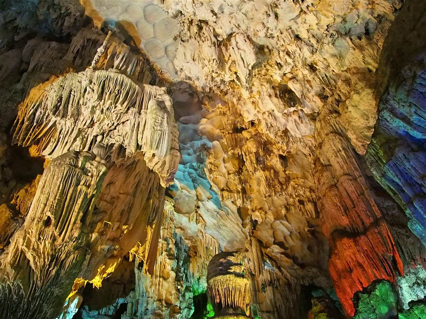 Limestone kart cave in Halong