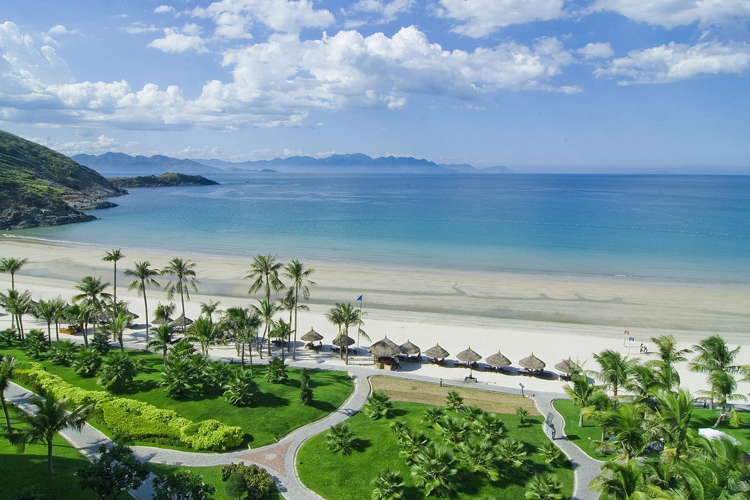 Beautiful beach in Nha Trang city in Vietnam