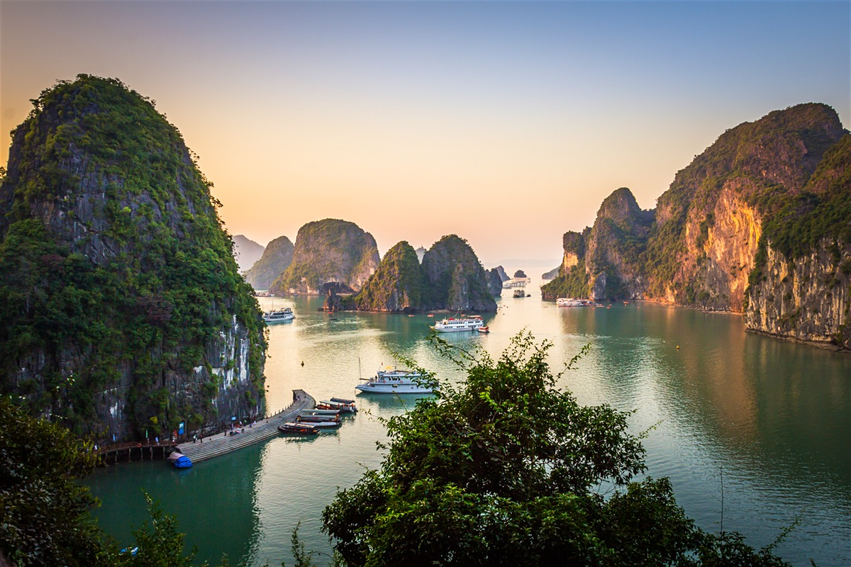 Romantic landscape in Halong Bay