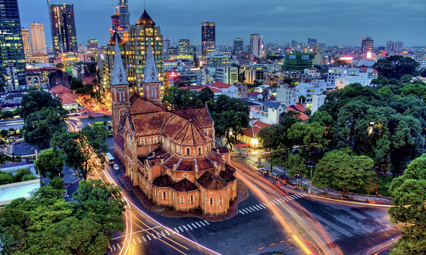 The beauty of Ho Chi Minh city in the sunset