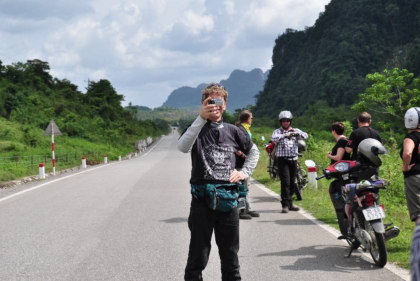 An interesting motorbike on the amazing road from Hanoi to Halong