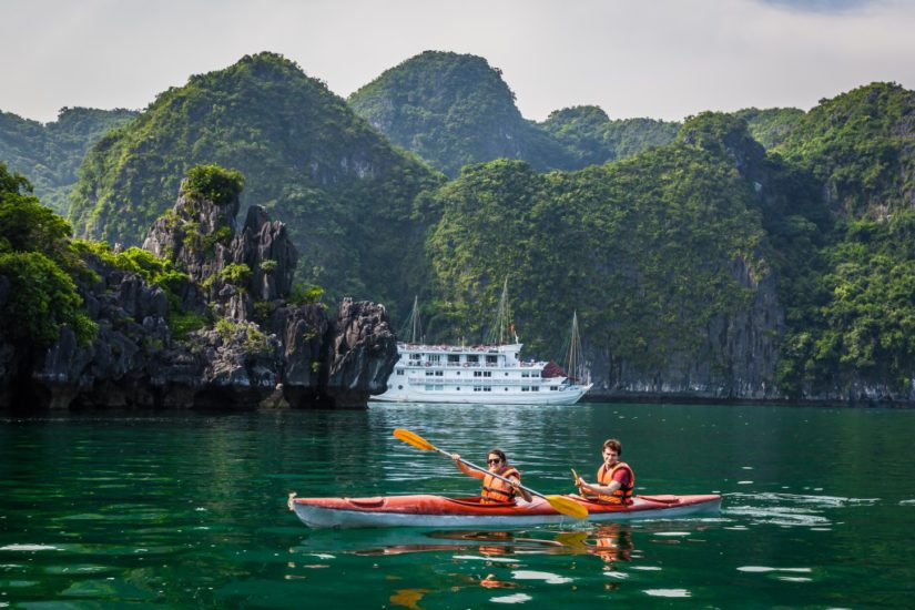 Canoeing in Halong