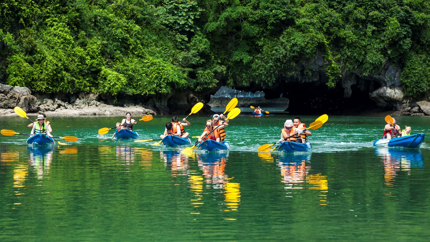 Kayaking in Halong Bay in summer