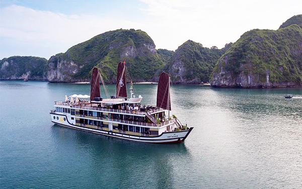 Contemplate the beautiful scenery of Halong Bay on the Orchid Cruise