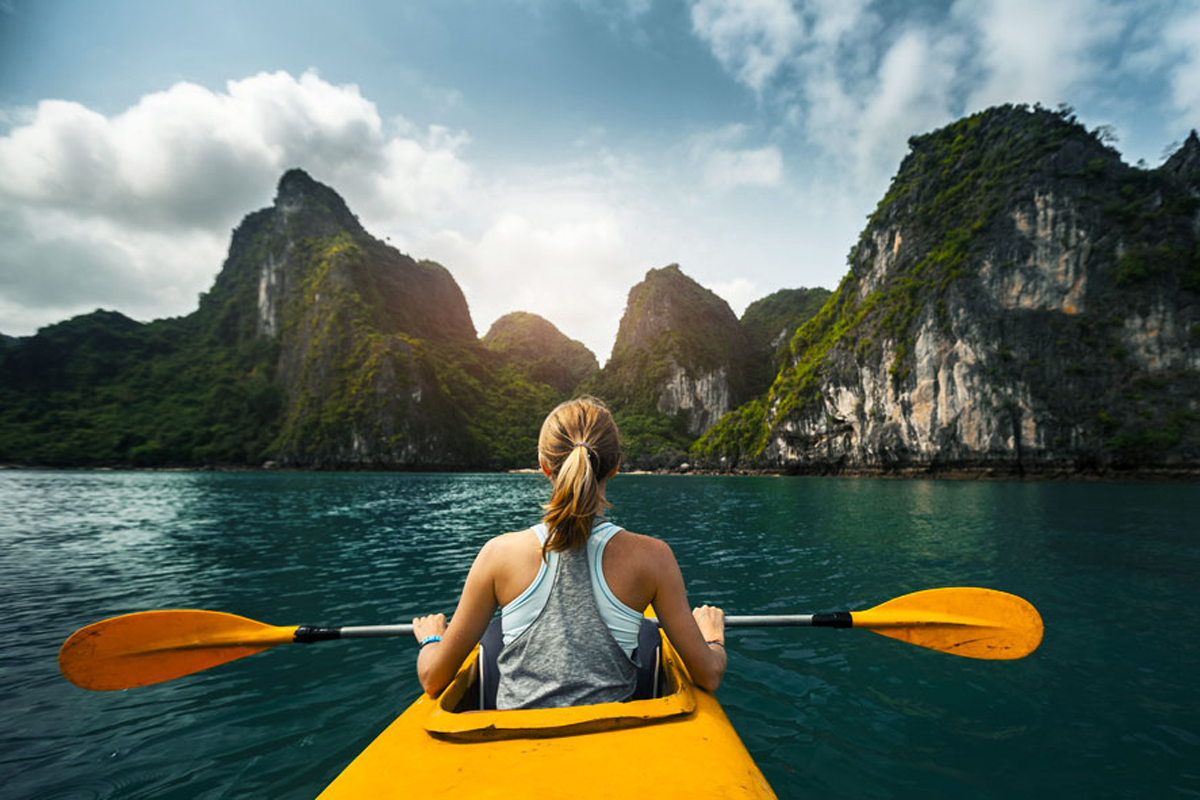 Halong bay is an ideal place for kayaking