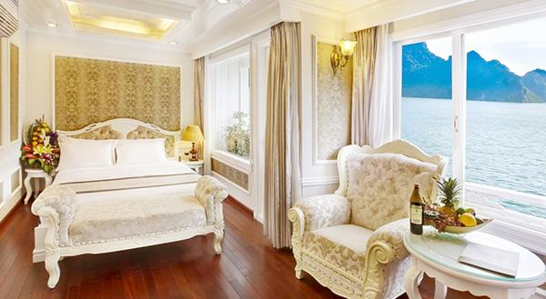 The luxurious look inside the cruise's cabin in Halong Bay