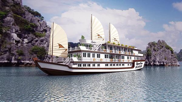 The royal Signature cruise in Halong Bay is brightly beautiful in white