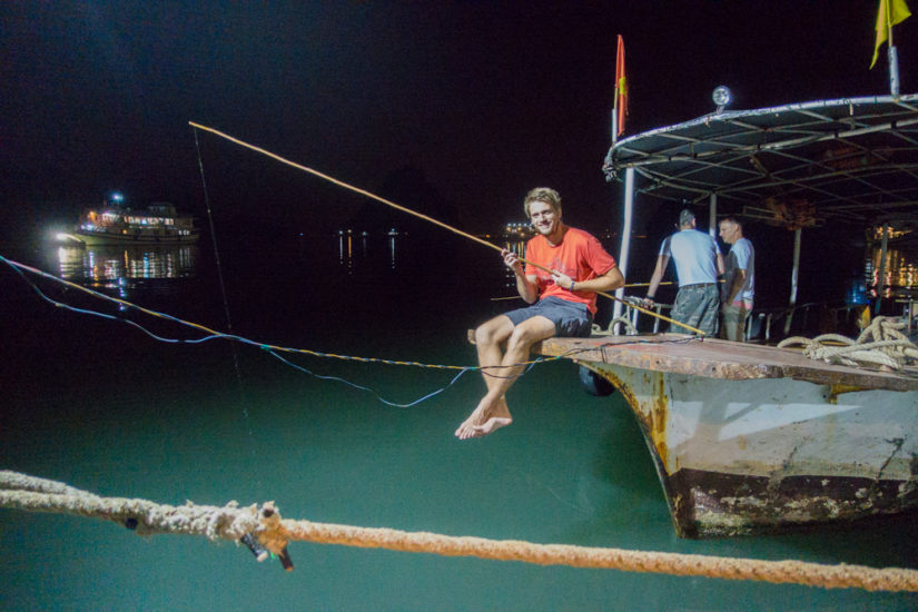 How to experience squid fishing in Halong Bay