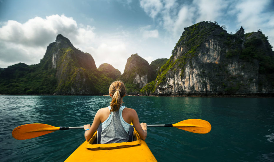 Kayaking is for those who want to explore the charm of Halong Bay