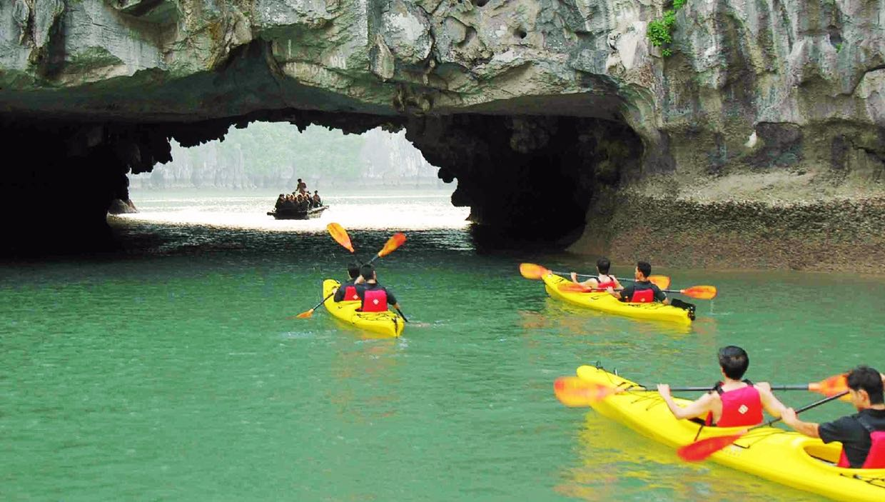 Let do kayaking to explore further Halong Bay