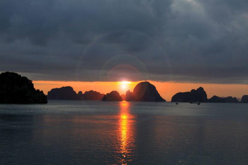 The beautiful shot of sunset on Halong Bay