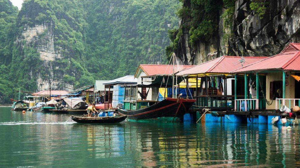 Peaceful atmosphere on Cua Van Fishing Village