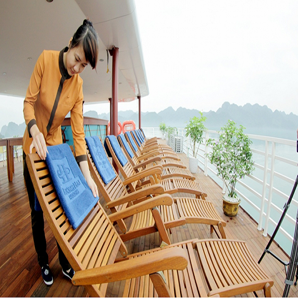 Resting on sundeck among vast space of Halong Bay is a memorable experiece for tourists