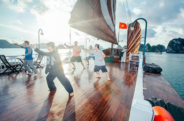 Tai Chi activity on the Bhaya Cruise