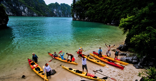 Visitors are ready for their kayaking adventure