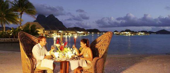 Couple's dinner on the beach