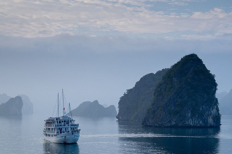 Halong Bay in the mist